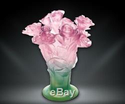 Vase Daum Floral Roses Floral En Verre Rose Et Vert Fabriqué En France 02570 Nouveau