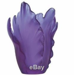 Vase Daum Floral Tulip Ultraviolet Violet Art En Verre Fabriqué En France 05213-2 Nouveau
