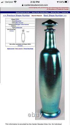 Vase De Bourgeon De Verre D'art De Steuben, Signé Aurene, Bleu Opalescent, 6.5 Pouces