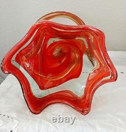 Vase De Sculpture D'art En Verre Soufflé À La Main Ambre 10,5h 7d