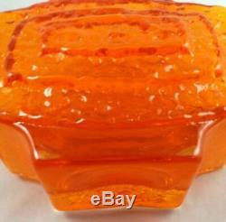 Vase De Télévision En Verre Texturé Art Mandarine Whitefriars Des Années 1960 9677 Geoffrey Baxter