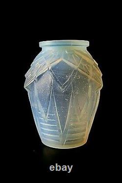 Vase De Verre Opalescent Luneville Art Antique Deco Muller Freres