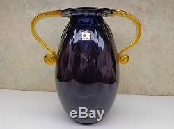 Vase En Verre À La Main Art Vintage Grand Blenko Amethyst 2 En Verre Ambré Manipulé