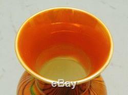 Vase En Verre Antique De 7 Art Impérial (américain) V. C. 1925 Orange Avec Bleu