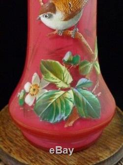Vase En Verre Art Antique Émaillé À La Main Harrach Victorienne Harrach Bohème