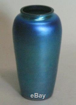 Vase En Verre Art Deco Antique Bleu Americain Irisé Non Signé V. 1920