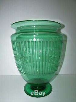 Vase En Verre Art Steuben Énorme Forme # 938 Vaseline D'uranium Vert Pamona 559
