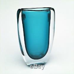Vase En Verre Art Turquoise Vicke Lindstrand Sommerso Des Années 1950 Par Kosta Boda # 1709/49 Rare