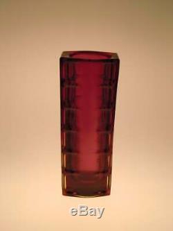 Vase En Verre D'art Polonais Rouge Ambre Drost Zabkowice 1970 Pologne Vintage 70 Rétro