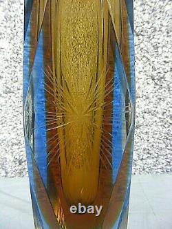 Vase En Verre D'art Sommerso Mandruzzato Verre À Facettes 12 Pouces
