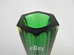 Vase En Verre De Murano Art Italien Parfait À Facettes Forme Hexagonale Ambre Vert 6 Côtés