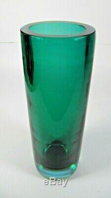 Vase En Verre De Murano Cylindre Vert Orange Bleu Sommerso Mid-century Modern Art