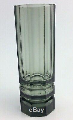Vase En Verre Fumé Art Attr. Pour Moser Josef Hoffmann