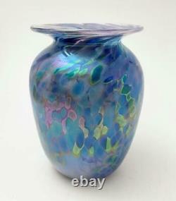 Vase En Verre Iridescent Australien Signé Glen Pattrick 1995 Handmade Studio Art