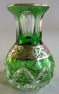 Vase En Verre Miniature Miniature À Superposition D'argent Moser Art Nouveau V. 1900 Cristal Taillé