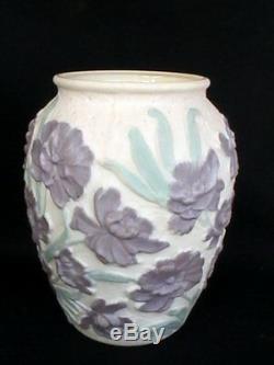Vase En Verre Phoenix Consolidated Custard Art Embossed Vert Lavande Floral