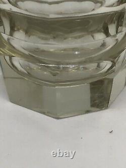 Vase En Verre Taille Claire En Cristal Art Déco Par Moser Tchèque Bohème Visage