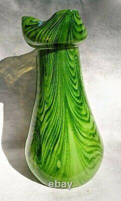 Vase En Verre Tchèque Antique Art Nouveau Bohême Rindskopf Adventurine