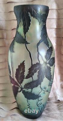 Vase Inspiré De Galle Art Nouveau Verre Acide Gravé Gaufré Cameo 14 Grande Menthe