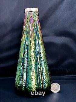 Vase Iridescent Art Nouveau Avec Col Argenté Daté De 1911 Loetz-kralik