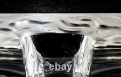 Vase Lalique Art Glass Venise Double Lion Head, Coins Canted, Acide Gravé