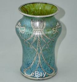 Vase Loetz Veuve Cobalt Creta Papillon Argent Overlay, Art Nouveau, 1900