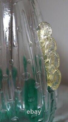 Vase Main Vintage Verre Soufflé Art Bulle Cactus Italienne Murano De Venise Italie