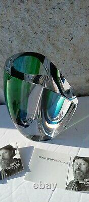 Vase Modern Art Glass Kosta Boda Mirage Goran Warff Design Blue Green 6-1/8