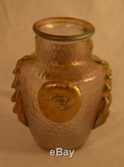 Vase Nautilus En Or Irrésistible Exquis De Verre D'art De Loetz Rare
