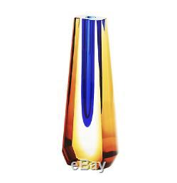 Vase Submergé En Verre D'art Tchèque Pavel Exbor Accrocheur Bleu Royal / Ambre