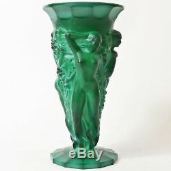 Vase Vintage Art Déco Tchèque En Malachite Curt Schlevogt, Heinrich Hoffman