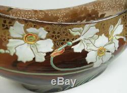 Vase Vintage Art Nouveau Bohème En Verre Avec Fleurs En Email Émaillé V. 1900