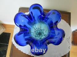 Vase Vintage En Verre D'art Murano Cobalt Bleu Aqua Swirl Flûté Flavio Ps Manner