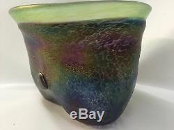 Vase Vintage En Verre Volcan Iridescent Bertil Vallien Boda Art Signé C. 1970 Rare
