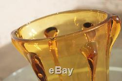 Vase Vintage Mid-century En Verre Art Ambre Dans Le Style Du Verre Empoli