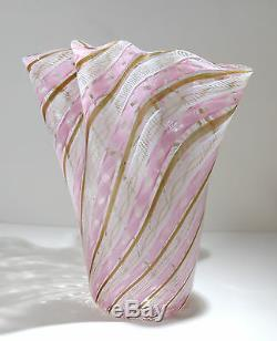 Venini En Verre De Murano Italien Latticino Art Grande Taille Vase 1940 Circa