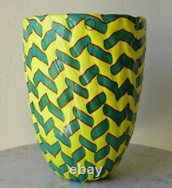 Venini James Carpenter Filigrana Murano Art Verre Calabash Vase Italie Signé'92
