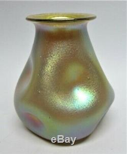 Véritable Loetz Or Vase Silberibis Décor C. 1900 Verre Antique Art
