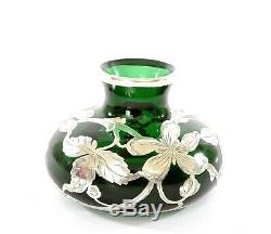 Verre Antique Vert Emeraude Argent Overlay Vase Style Art Nouveau