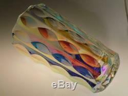 Verre Art Vintage Grand Vase Iridescent Sklo Union MID Century Moderne MCM Tchèque