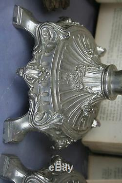 Verre D'art Magnifique Paire Antique Bohême Vases Émaillés 1930 Floral