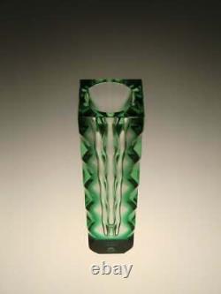 Verre D'art Optique Vert Vase Oldrich Lipsky Exbour Vintage Rétro Tchèque