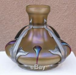 Verre D'or Loetz Bohème Iridescent Vase Art Nouveau Cadre Étain Attr Kralik
