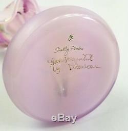 Verre En Verre Art Rose Signé Fenton Dans Le Vase De Chaire Orchidée Peinte À La Main