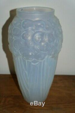 Verre Etling Edmond Opalescent Vase Monnaie Du Pape Art Déco 1930