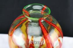 Verre Wilhelm Kralik Bambus Vase Art Déco Bohème Vaseline Rouge Orange Bamboo