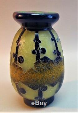 Very Fine Schneider Charder Français Art Déco Cameo Vase En Verre C. 1925 Antique