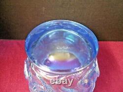 Very Rare Vintage Blue Fenton Art Glass Carnival Sirène Planter/vase Signé