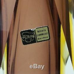 Vetreria Murano Sommerso Art Moderne Du Milieu Du Siècle En Verre Vase À Facettes 12 Couches