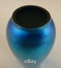 Victor Durand Bleu Aurene Art Glass Vase. 5 5/8, Nice Irisation. C. 1910-1925